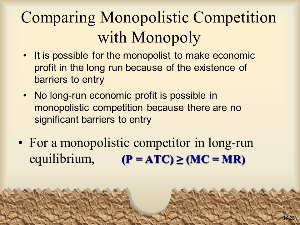 Comparing Monopolistic Competition with Monopoly