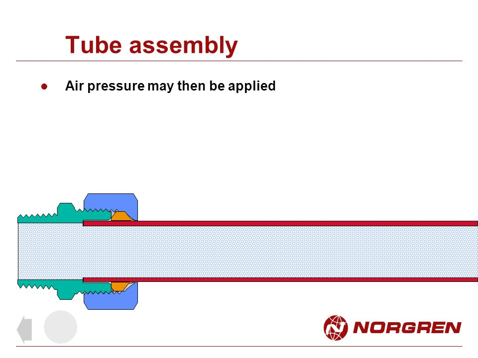 Tube assembly Air pressure may then be applied