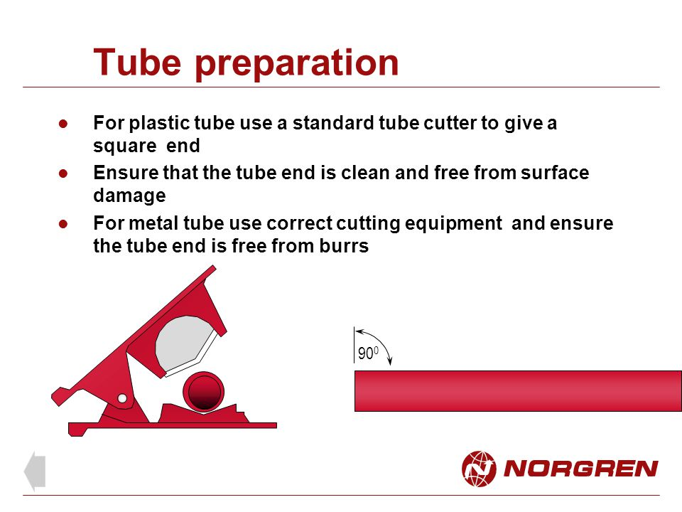 Tube preparation For plastic tube use a standard tube cutter to give a square end. Ensure that the tube end is clean and free from surface damage.