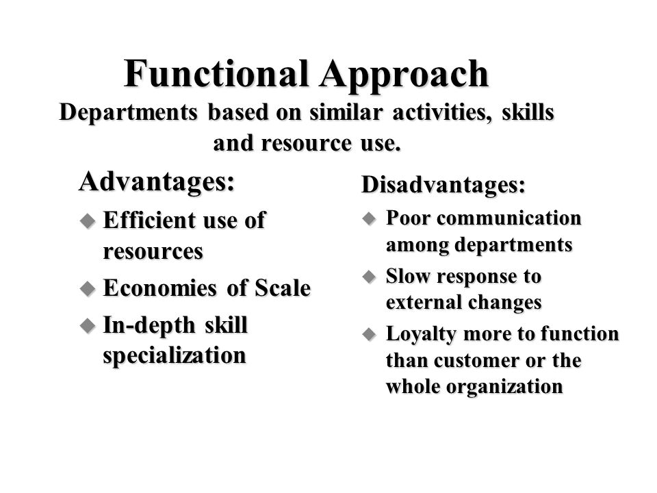 Functional Approach Departments based on similar activities, skills and resource use.