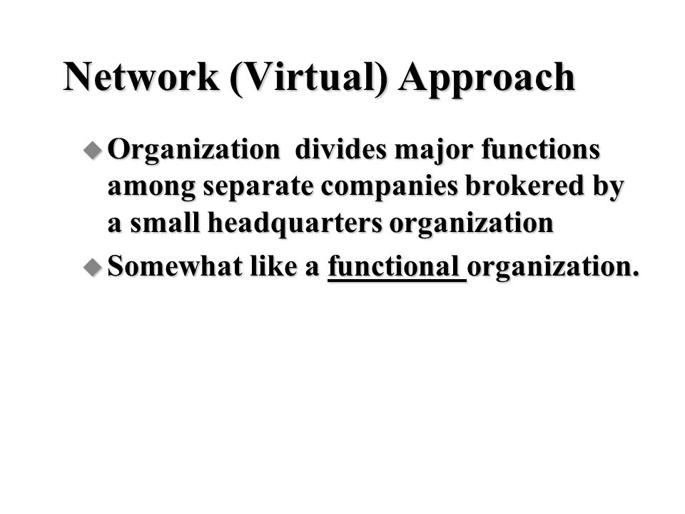 Network (Virtual) Approach