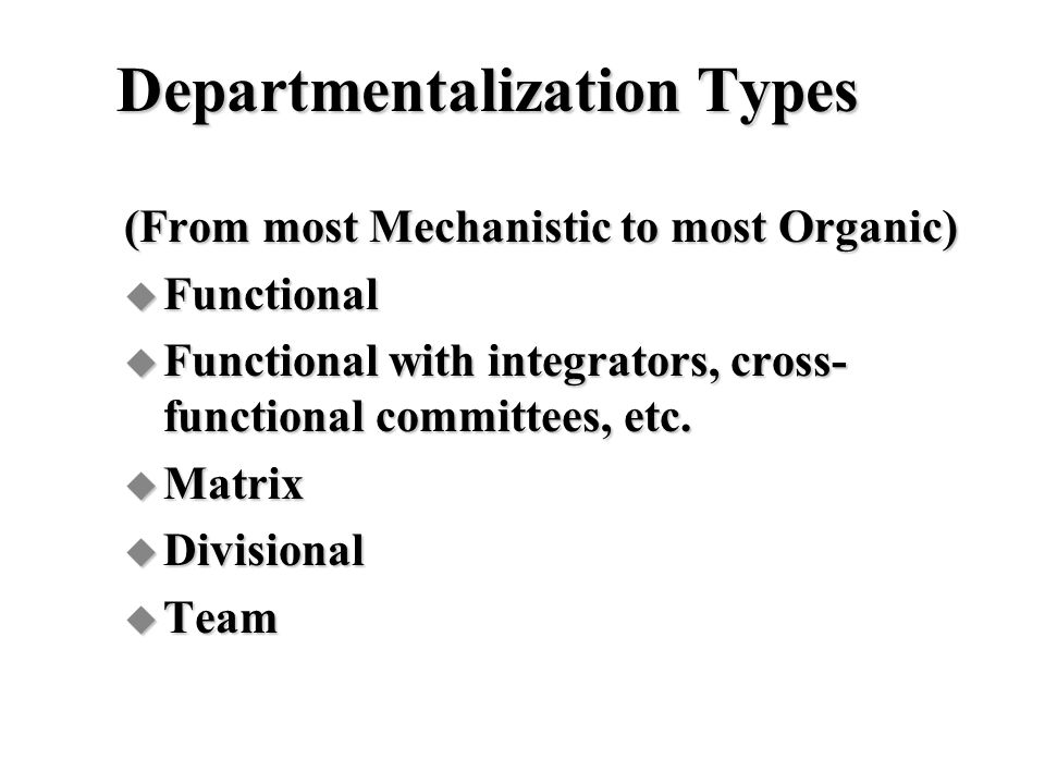 Departmentalization Types