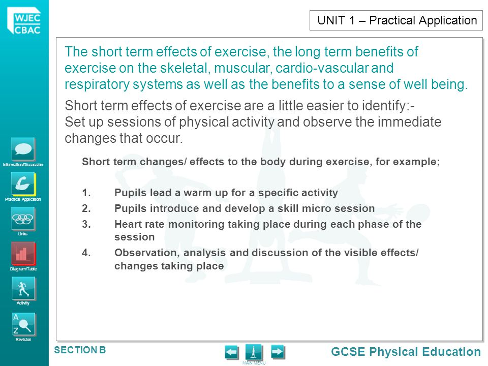 the long and short term effects of exercise essay The short- and long-term cognitive benefits of both a single session of and regular participation in physical activity are summarized before outlining the health benefits of physical activity and fitness, it is important to note that many factors influence academic performance.