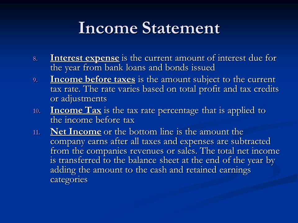 Income Statement Interest expense is the current amount of interest due for the year from bank loans and bonds issued.