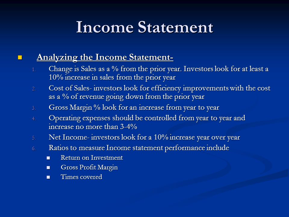 Income Statement Analyzing the Income Statement-