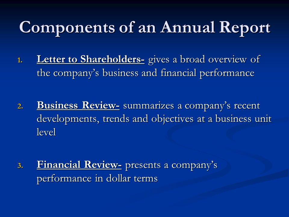 Components of an Annual Report