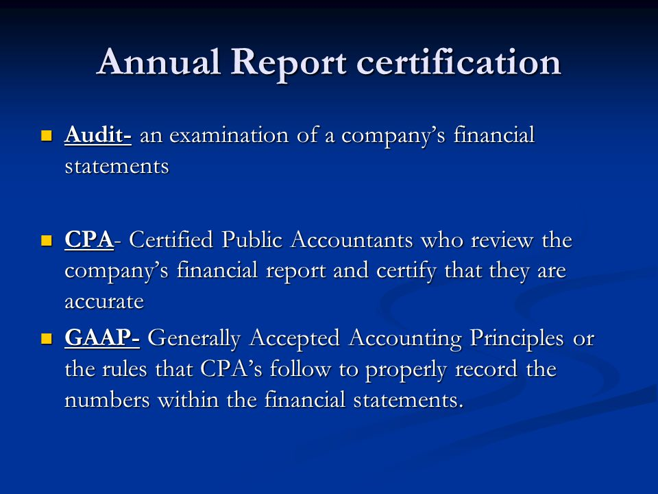 Annual Report certification