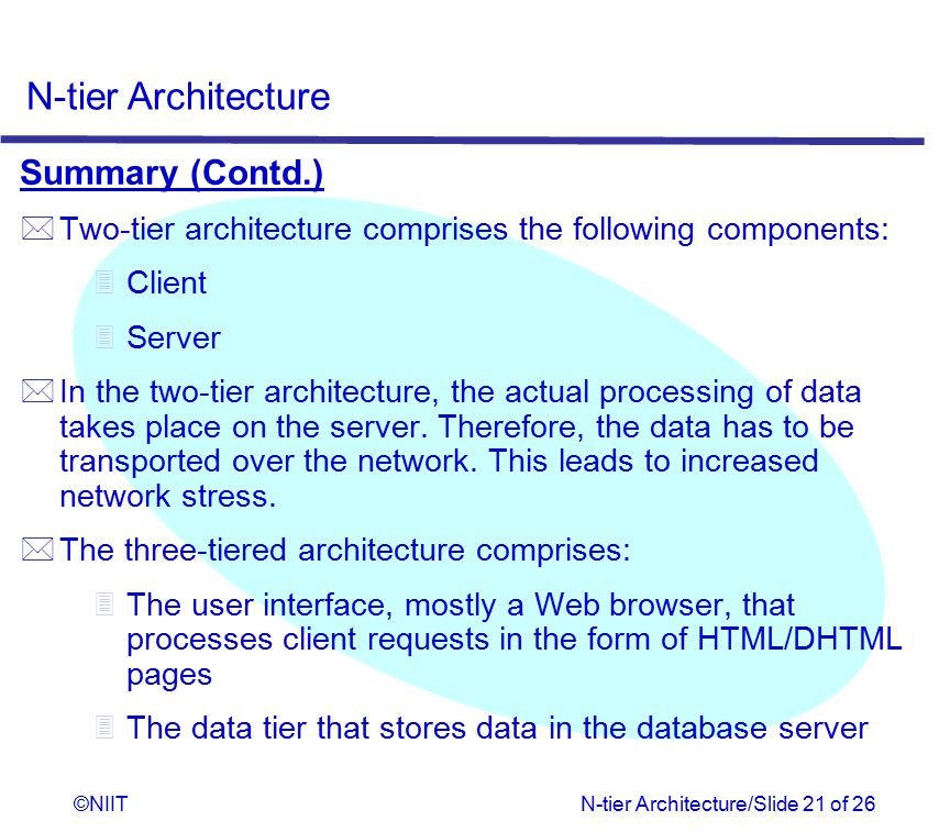 Summary (Contd.) Two-tier architecture comprises the following components: Client. Server.