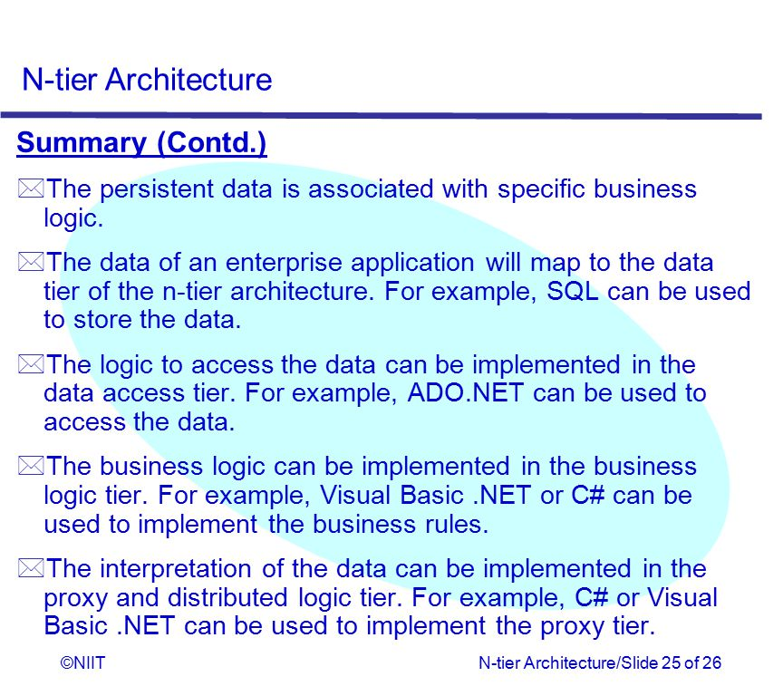 Summary (Contd.) The persistent data is associated with specific business logic.