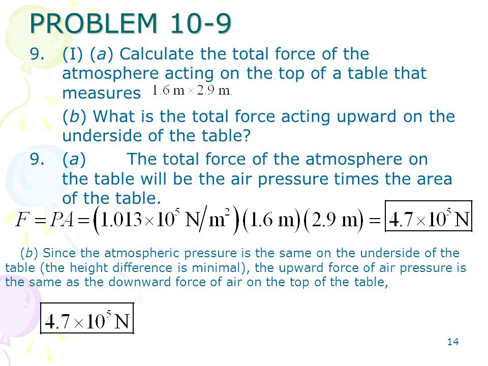 PROBLEM 10-9 (I) (a) Calculate the total force of the atmosphere acting on the top of a table that measures.