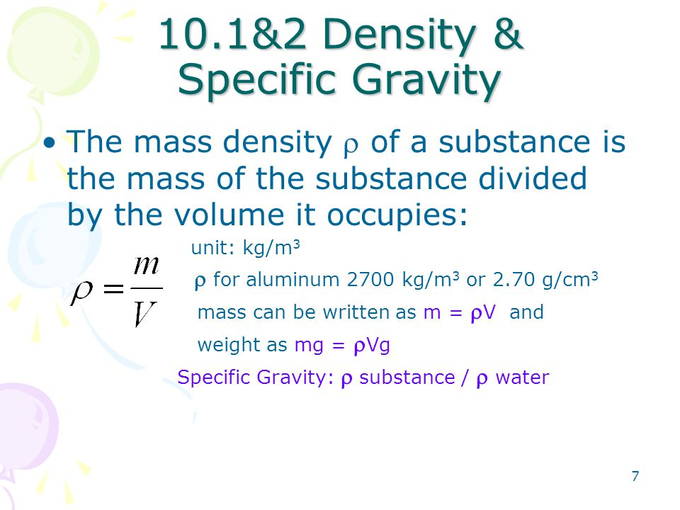 10.1&2 Density & Specific Gravity