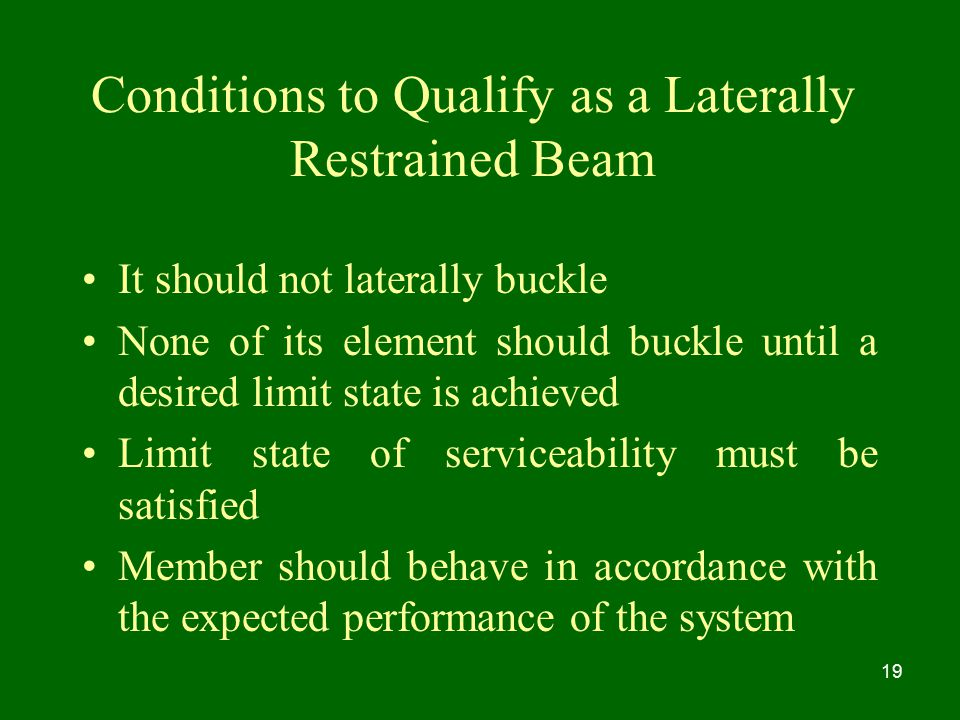 Conditions to Qualify as a Laterally Restrained Beam