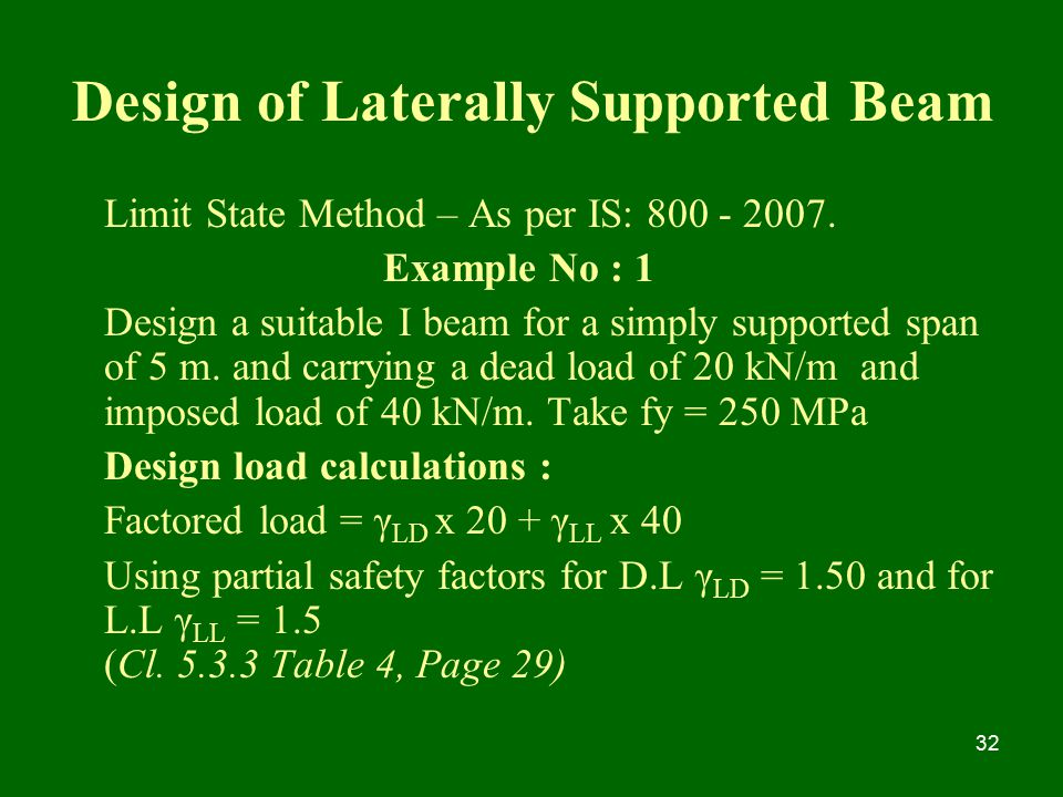 Design of Laterally Supported Beam