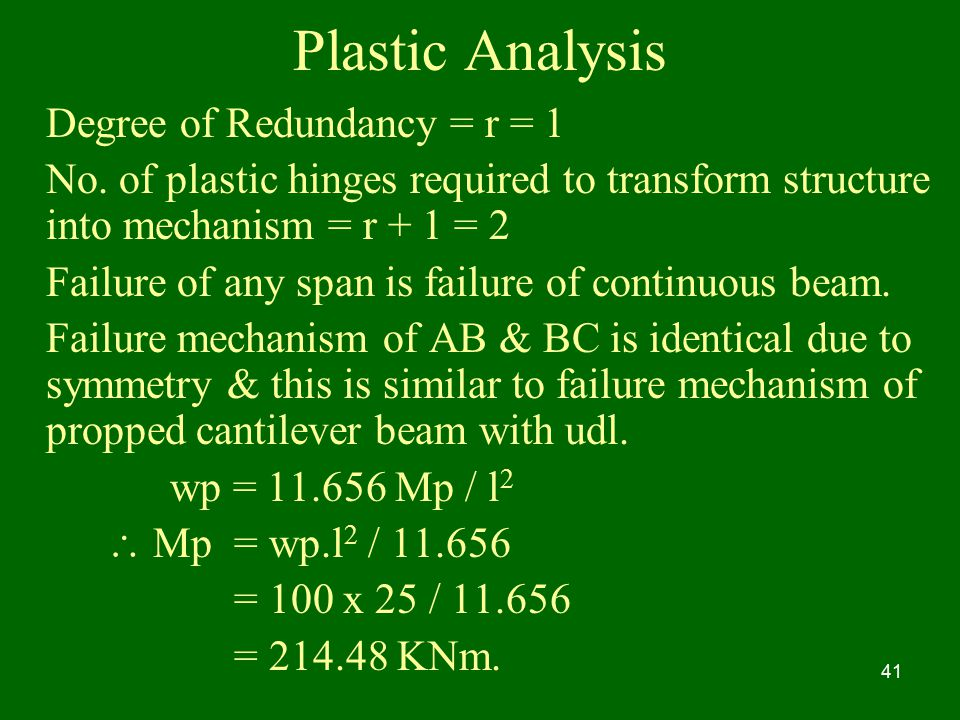 Plastic Analysis Degree of Redundancy = r = 1