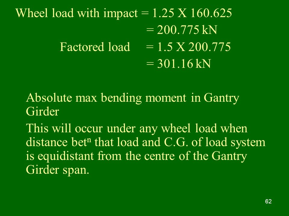 Wheel load with impact = 1.25 X