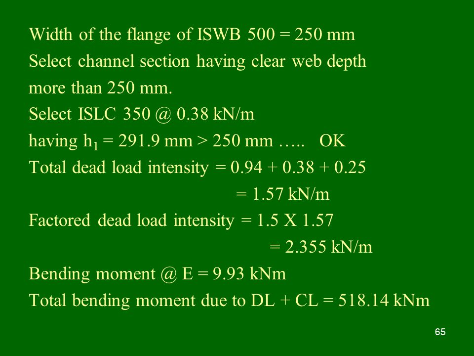 Width of the flange of ISWB 500 = 250 mm