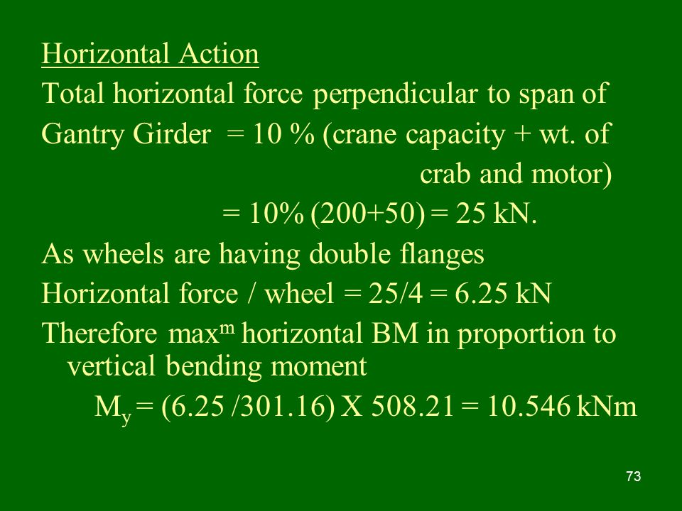 Horizontal Action Total horizontal force perpendicular to span of. Gantry Girder = 10 % (crane capacity + wt. of.