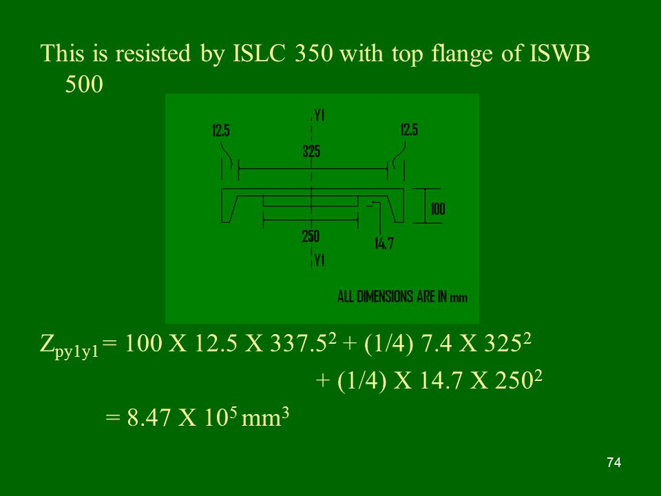 This is resisted by ISLC 350 with top flange of ISWB 500