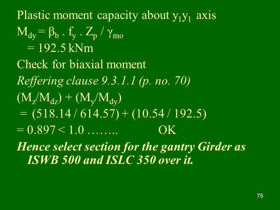 Plastic moment capacity about y1y1 axis