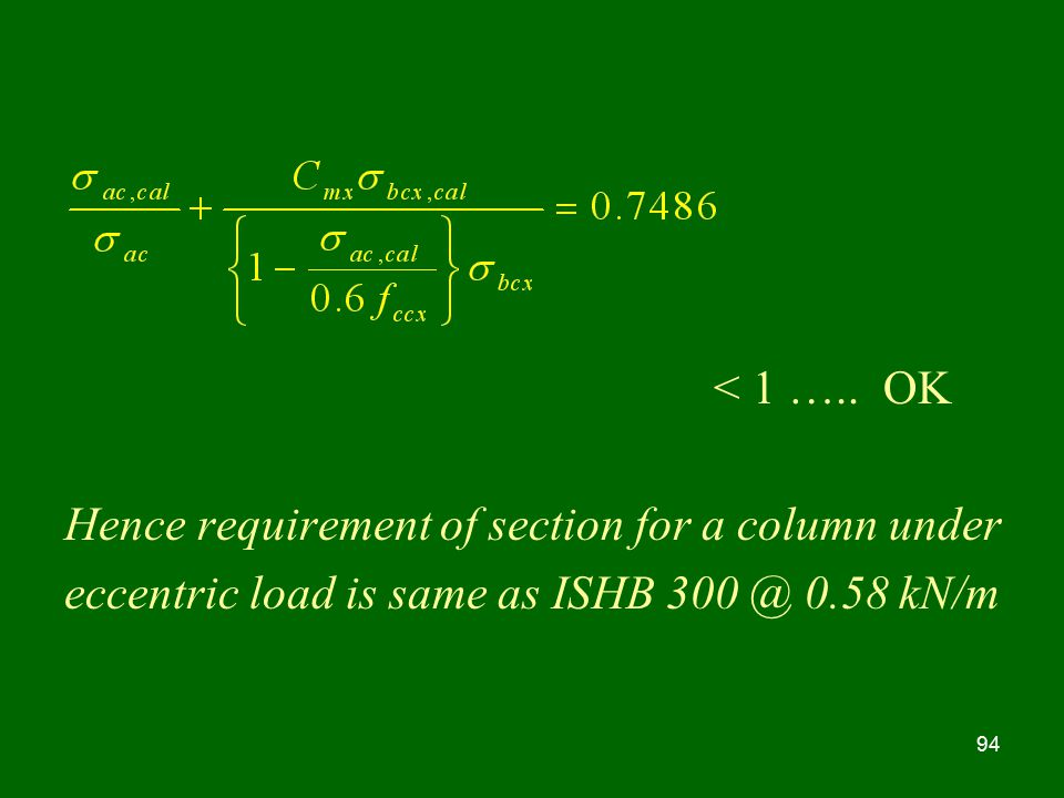Hence requirement of section for a column under