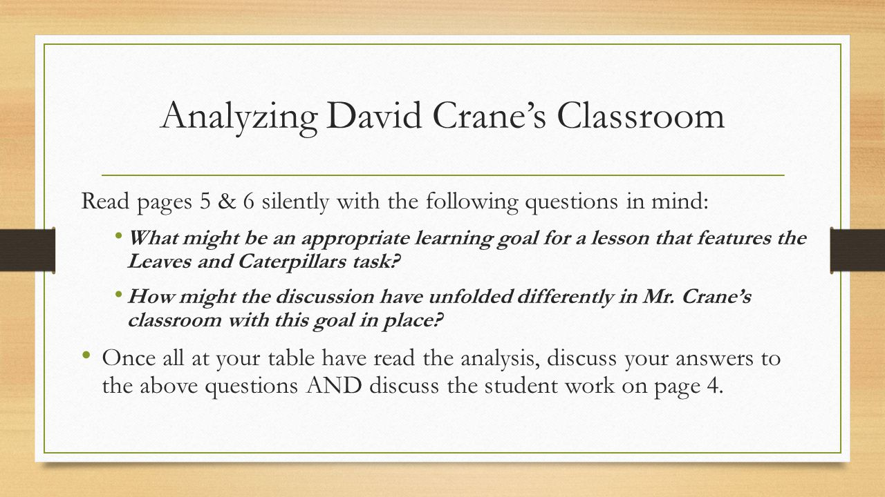 Analyzing David Crane's Classroom