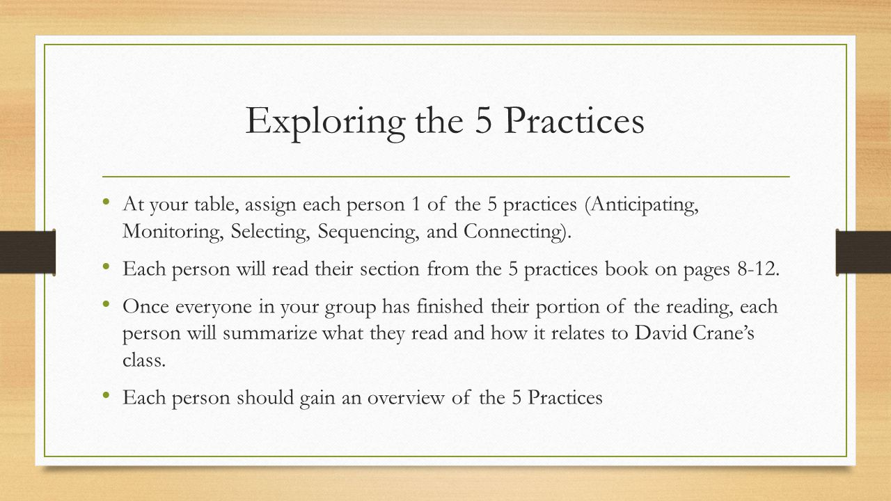 Exploring the 5 Practices