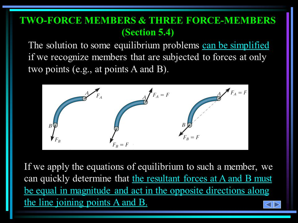 TWO-FORCE MEMBERS & THREE FORCE-MEMBERS (Section 5.4)