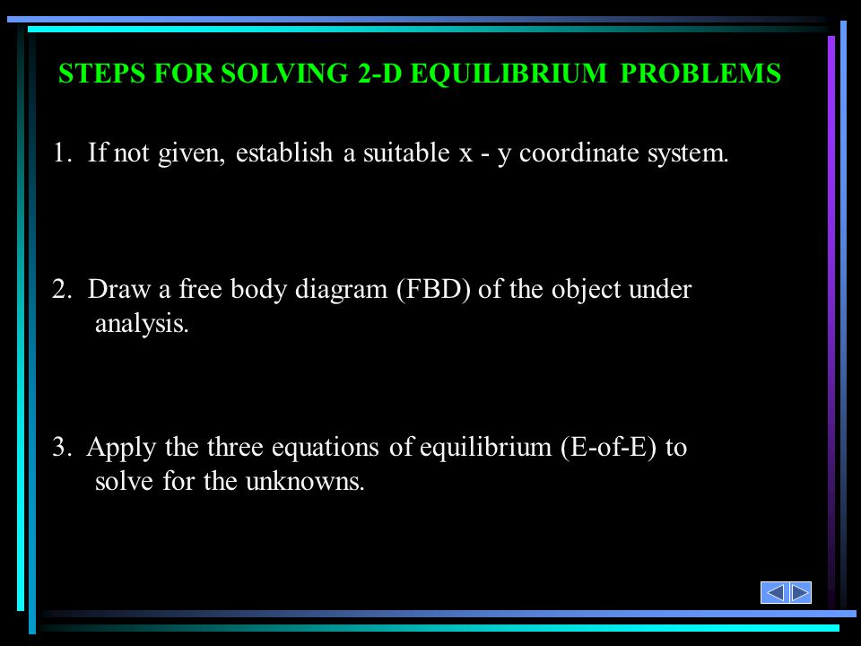 STEPS FOR SOLVING 2-D EQUILIBRIUM PROBLEMS