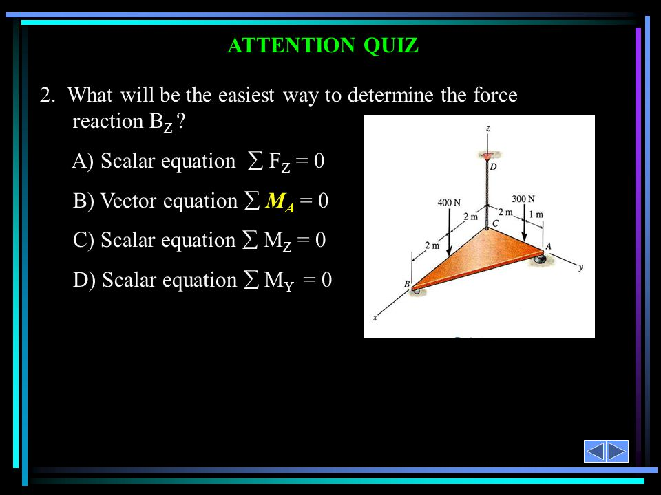 2. What will be the easiest way to determine the force reaction BZ