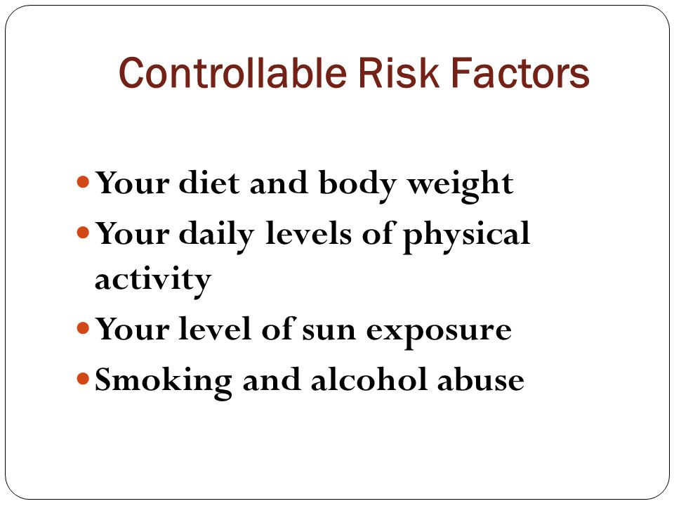 Controllable Risk Factors