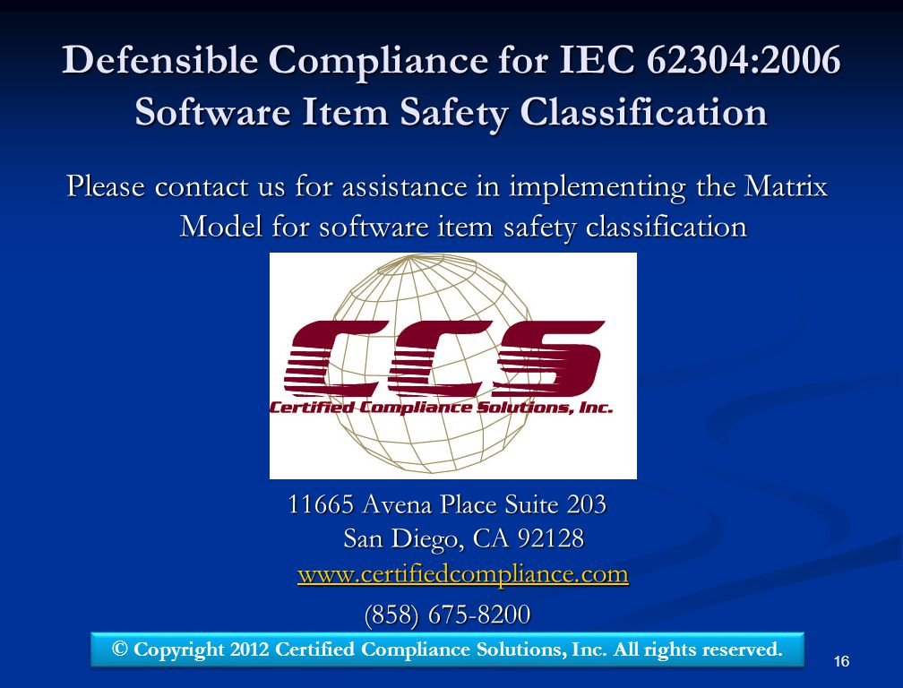 Defensible Compliance for IEC 62304:2006 Software Item Safety Classification