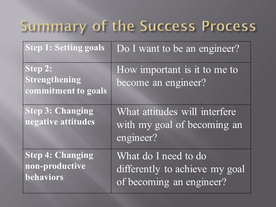 Summary of the Success Process