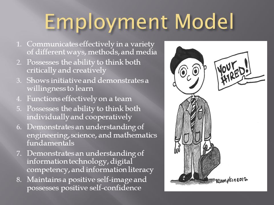 Employment Model Communicates effectively in a variety of different ways, methods, and media.