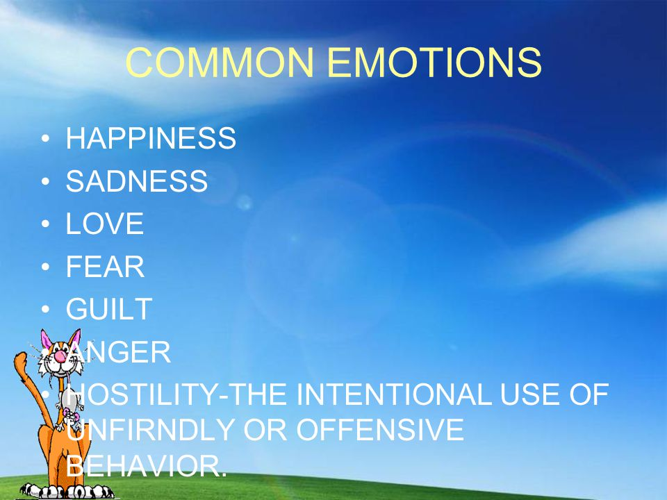 COMMON EMOTIONS HAPPINESS SADNESS LOVE FEAR GUILT ANGER