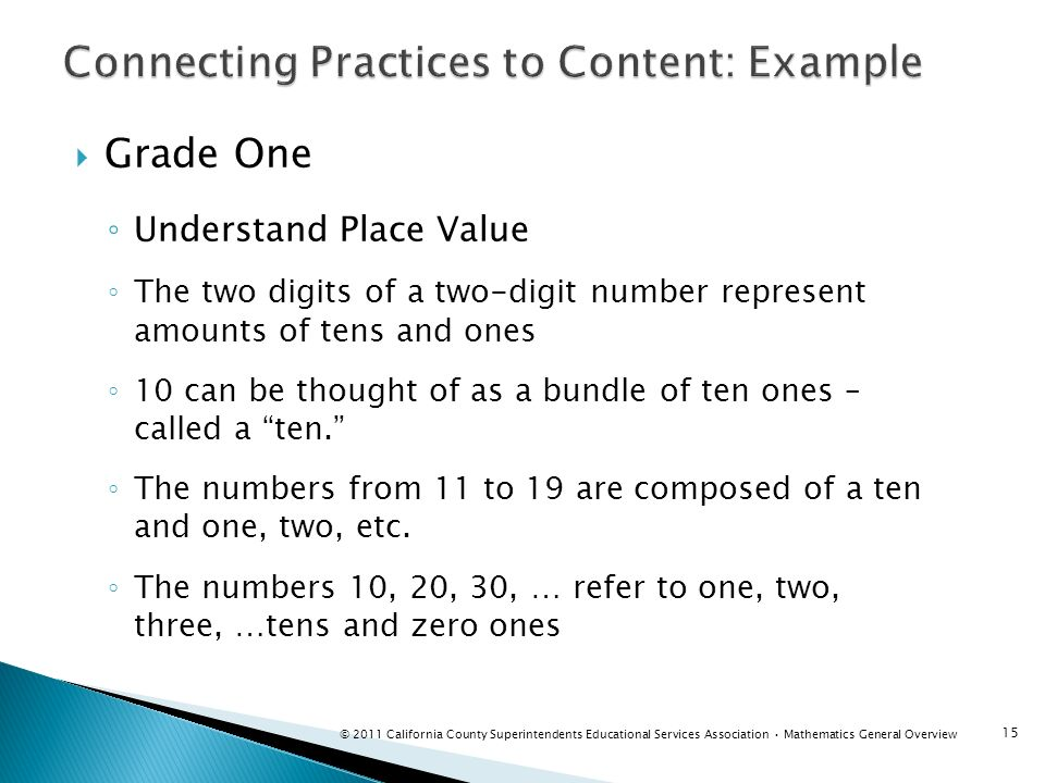 Connecting Practices to Content: Example