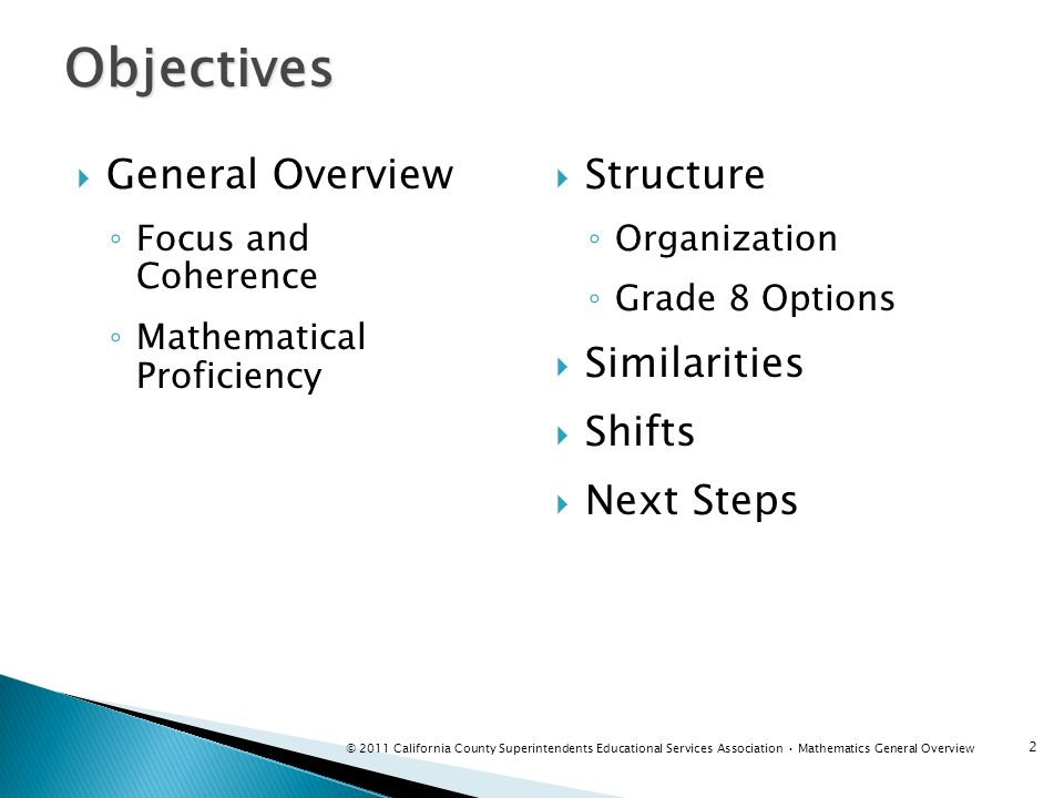 Objectives General Overview Structure Similarities Shifts Next Steps