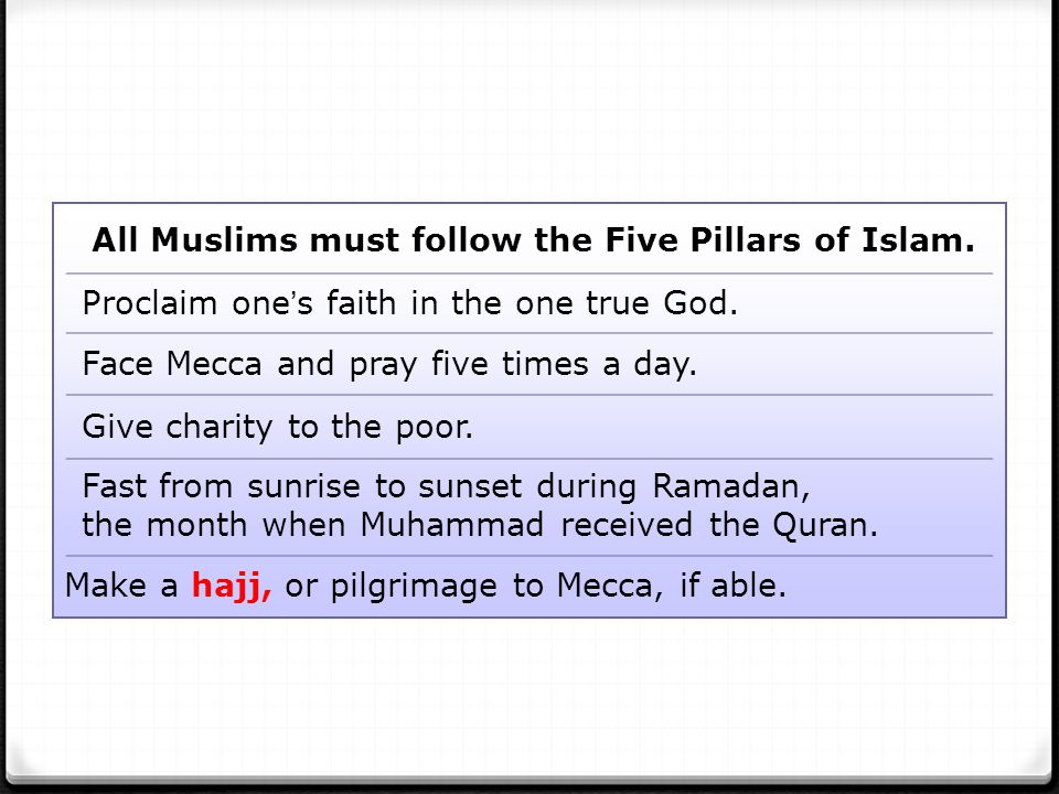 All Muslims must follow the Five Pillars of Islam.