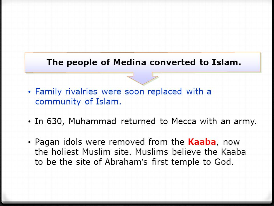 The people of Medina converted to Islam.