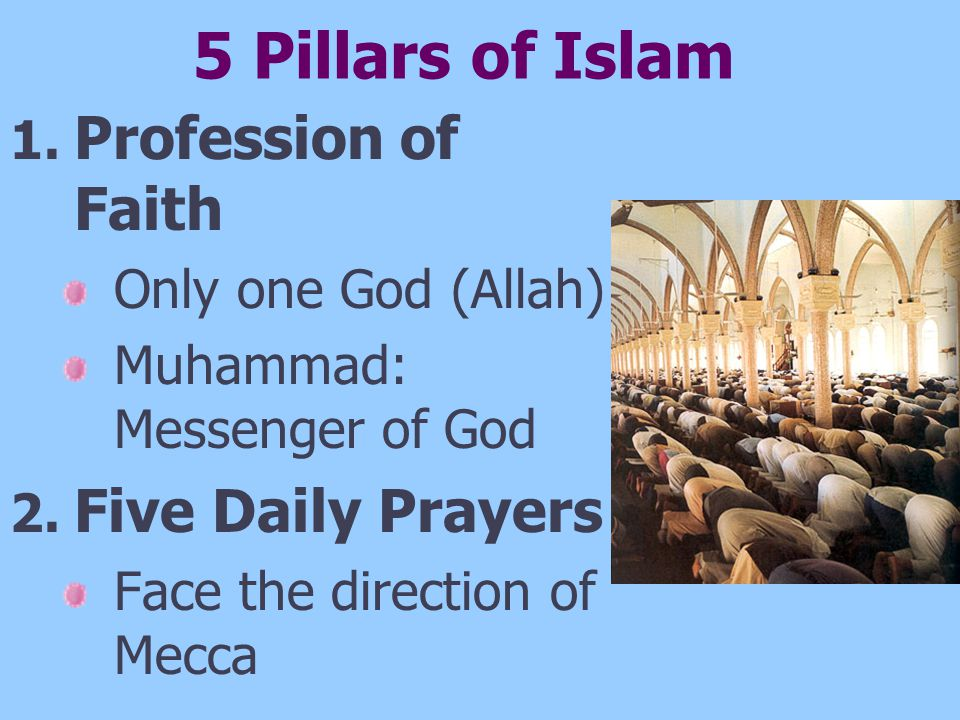5 Pillars of Islam Profession of Faith Five Daily Prayers