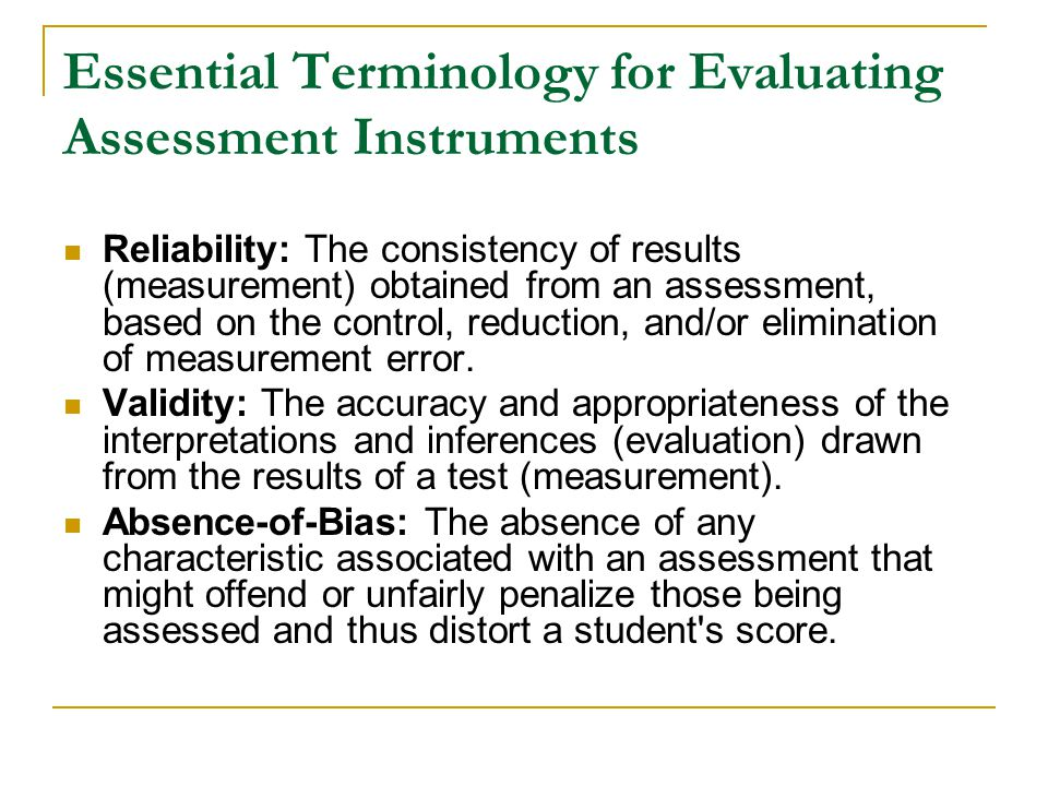 Essential Terminology for Evaluating Assessment Instruments