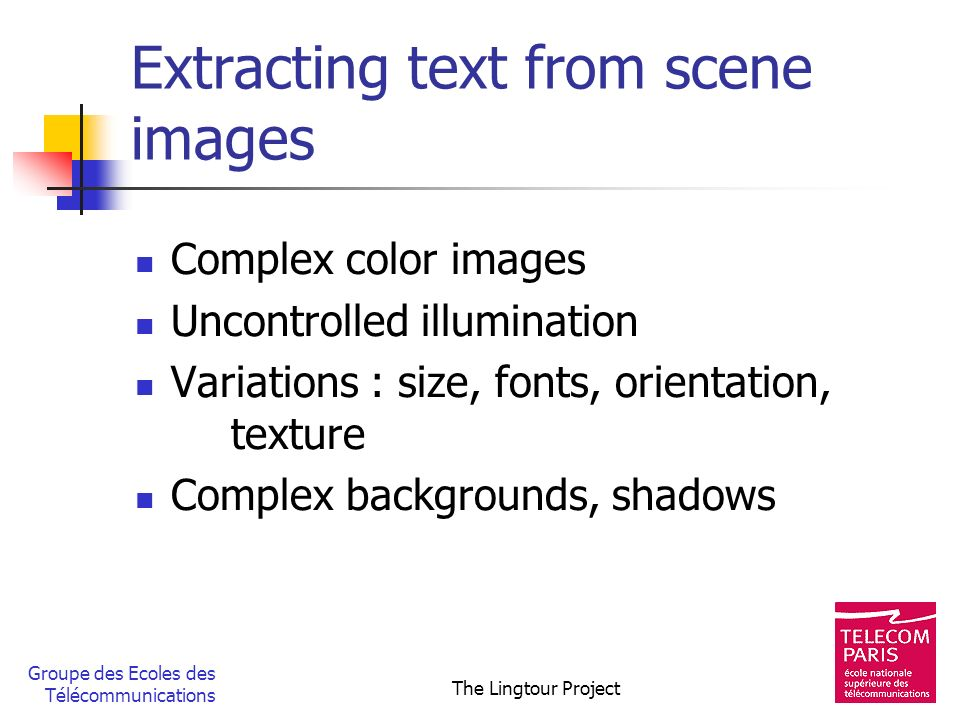 Extracting text from scene images