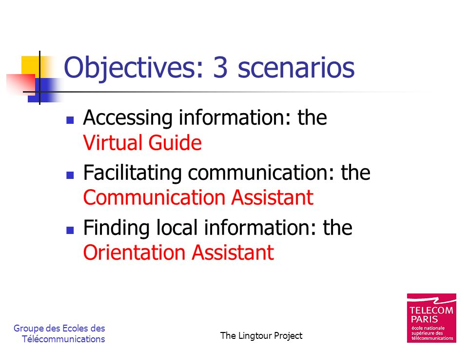 Objectives: 3 scenarios