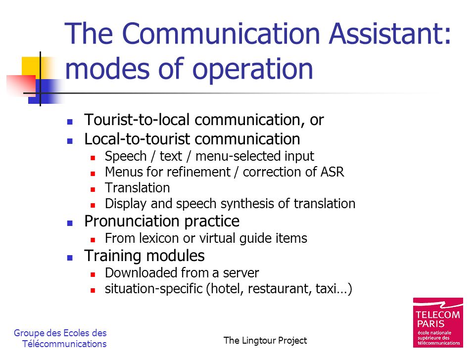 The Communication Assistant: modes of operation