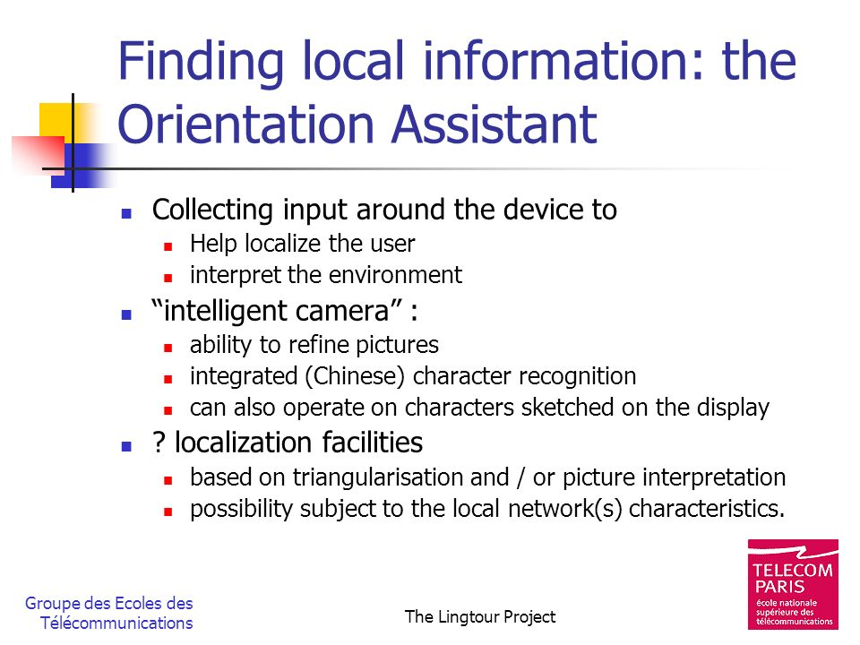 Finding local information: the Orientation Assistant