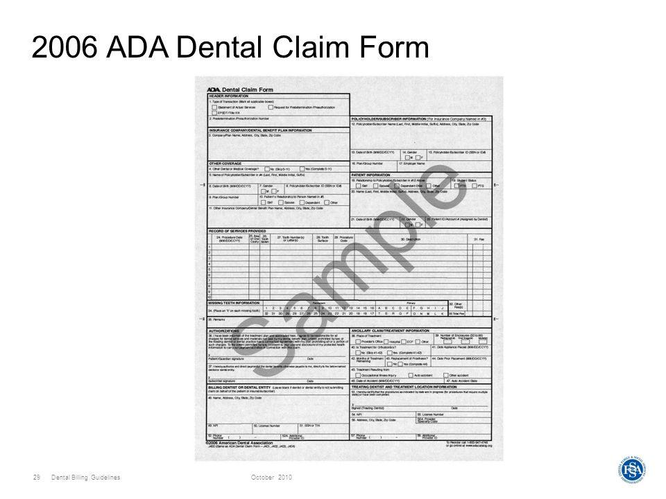 2006 Ada Dental Claim Form Download
