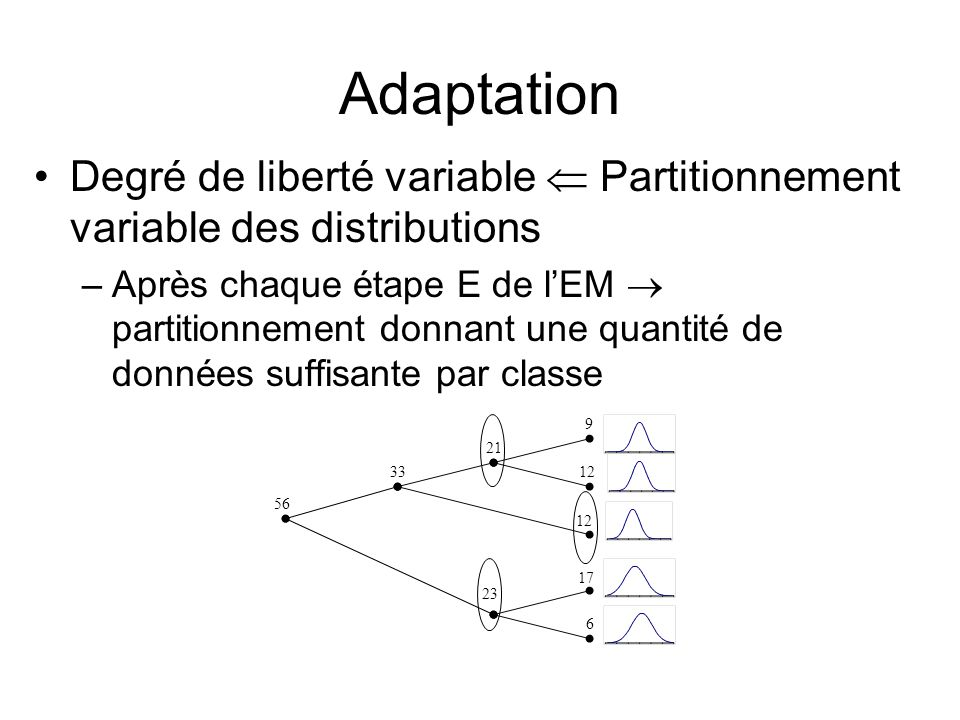 Adaptation Degré de liberté variable  Partitionnement variable des distributions.