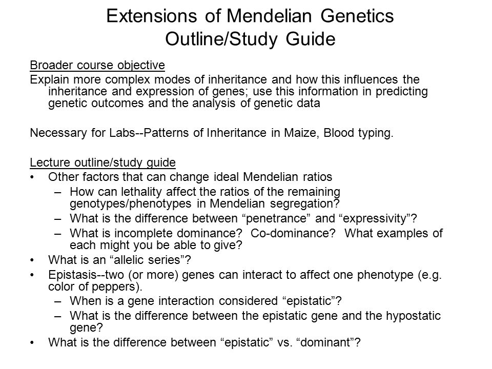 extensions of mendelian genetics outline study guide ppt download rh slideplayer com chapter 9 patterns of inheritance study guide answers 7.2 complex patterns of inheritance study guide answers