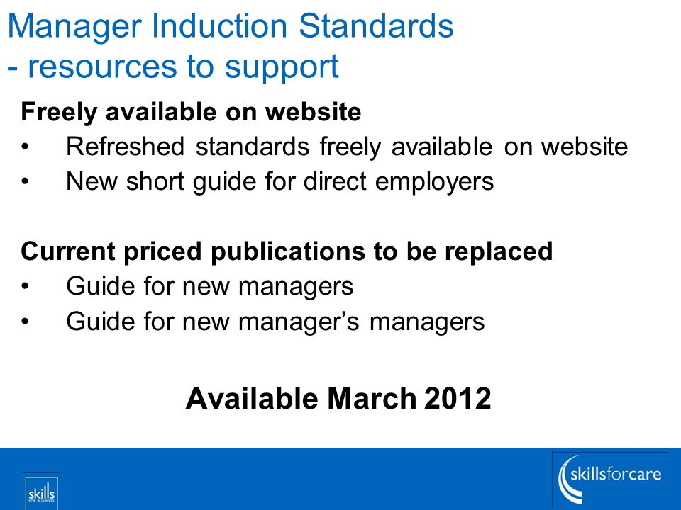 Manager Induction Standards - resources to support
