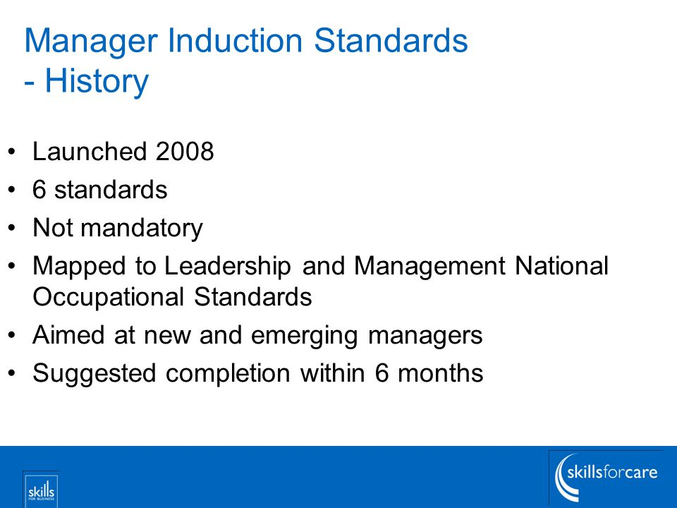 Manager Induction Standards - History