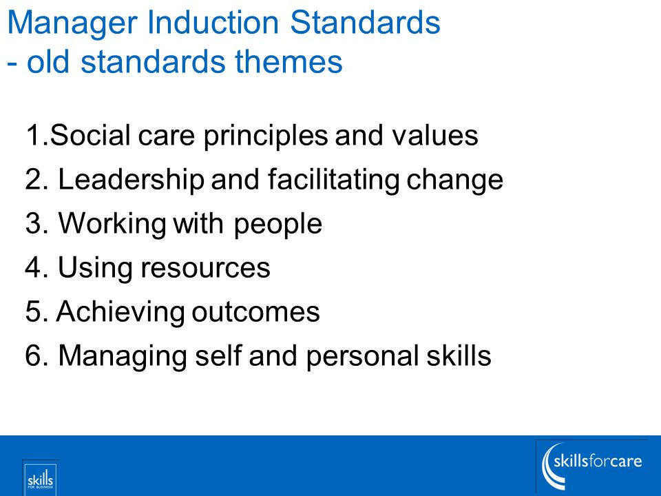 Manager Induction Standards - old standards themes